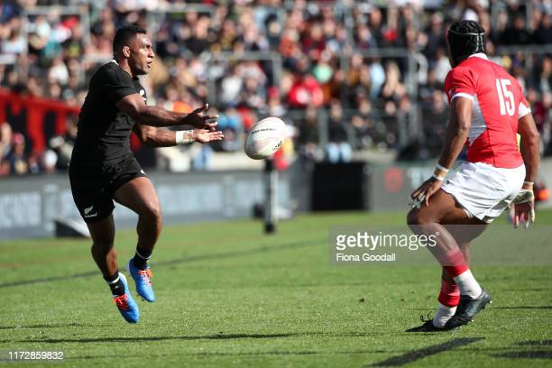 Sevu Reece of the All Blacks passes during the rugby Test Match between the New Zealand All Blacks and Tonga at FMG Stadium on September 07 2019 in...