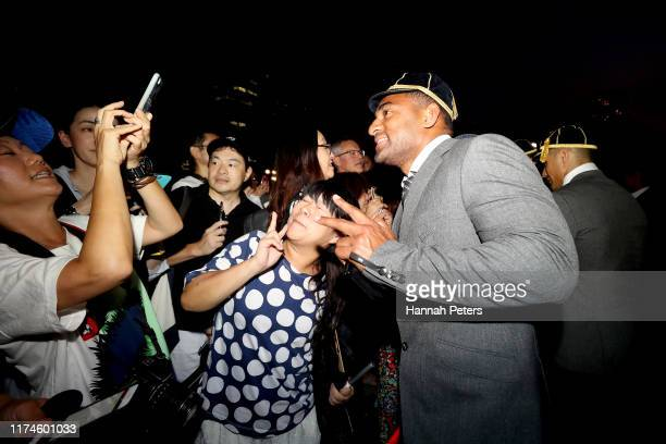 Sevu Reece of the All Blacks poses with fans during a New Zealand All Blacks Rugby World Cup Welcome Ceremony at Zojoji Temple on September 14 2019...