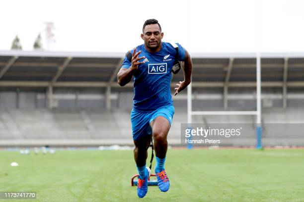 Sevu Reece of the All Blacks runs through drills during a New Zealand training session at Kashiwa no Ha Park Stadium on September 11 2019 in Kashiwa...
