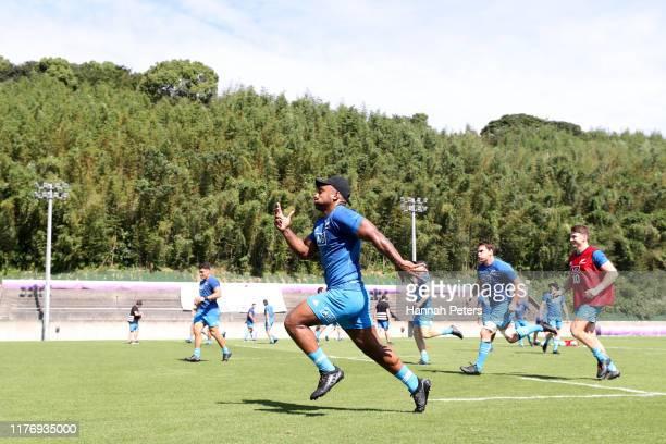 Sevu Reece of the All Blacks runs through drills during a New Zealand training session at Jissoji Ground on September 25 2019 in Beppu Oita Japan