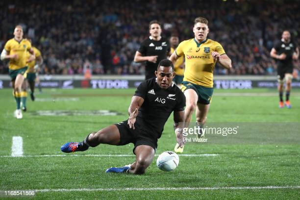 Sevu Reece of the All Blacks scores a try during The Rugby Championship and Bledisloe Cup Test match between the New Zealand All Blacks and the...