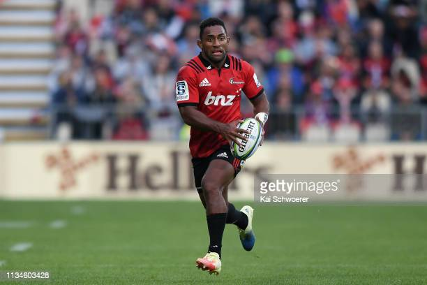 Sevu Reece of the Crusaders charges forward during the round four Super Rugby match between the Crusaders and Chiefs at Christchurch Stadium on March...