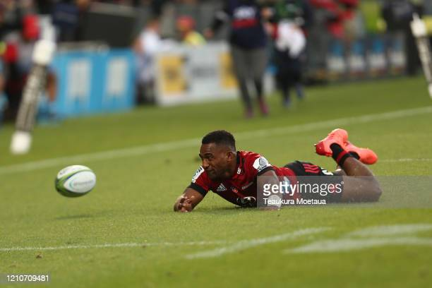 Sevu Reece of the Crusaders drops the ball during the round six Super Rugby match between the Crusaders and the Reds at Orangetheory Stadium on March...