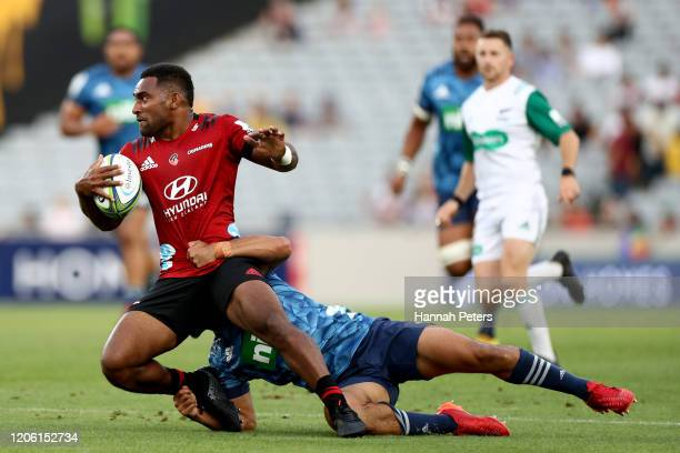 Sevu Reece of the Crusaders makes a break during the round 3 Super Rugby match between the Blues and the Crusaders at Eden Park on February 14 2020...