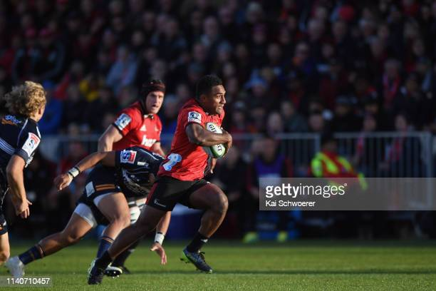 Sevu Reece of the Crusaders runs through to score a try during the round 8 Super Rugby match between the Crusaders and Brumbies at Christchurch...