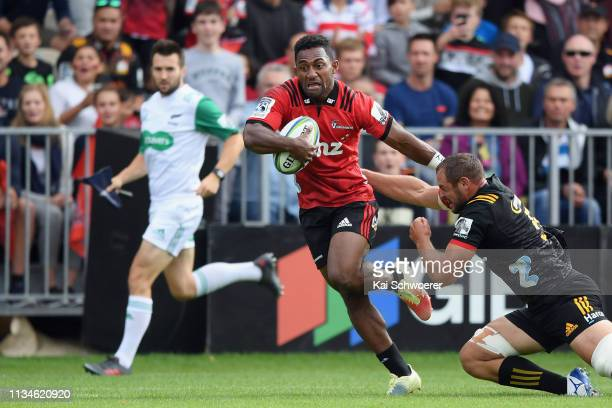 Sevu Reece of the Crusaders runs through to score a try during the round four Super Rugby match between the Crusaders and Chiefs at Christchurch...