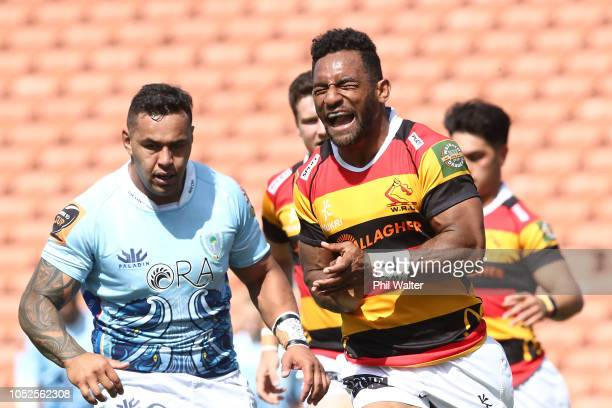 Sevu Reece of Waikato celebrates his try during the Mitre 10 Cup Championship Semi Final match between Waikato and Northland at FMG Stadium on...