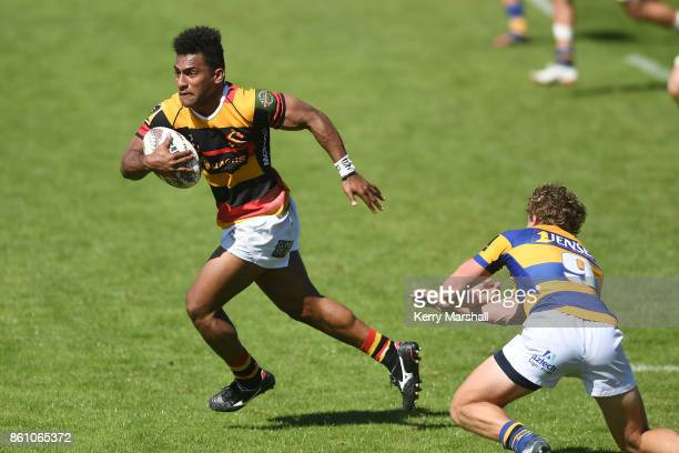 Sevu Reece of Waikato makes a break during the round nine Mitre 10 Cup match between Bay of Plenty and Waikato at Tauranga Domain on October 14 2017...