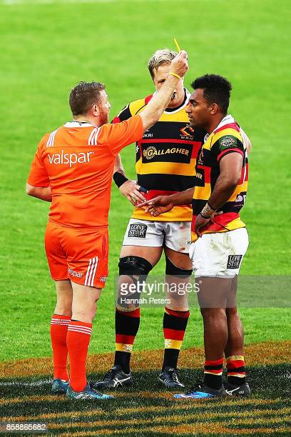 Sevu Reece of Waikato receives a yellow card during the round eight Mitre 10 Cup match between Waikato and North Harbour at FMG Stadium on October 8...