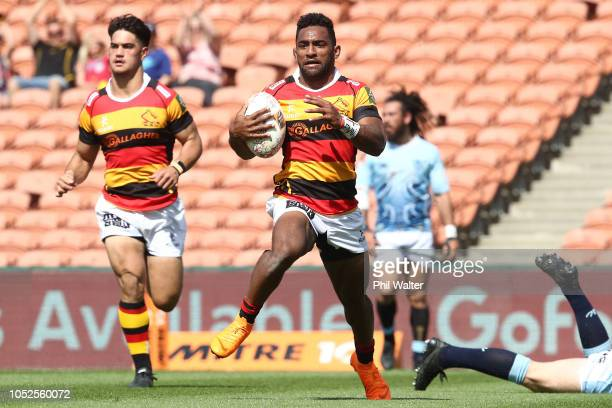 Sevu Reece of Waikato runs in for a try during the Mitre 10 Cup Championship Semi Final match between Waikato and Northland at FMG Stadium on October...
