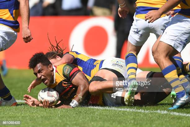 Sevu Reece of Waikato scores a try during the round nine Mitre 10 Cup match between Bay of Plenty and Waikato at Tauranga Domain on October 14 2017...