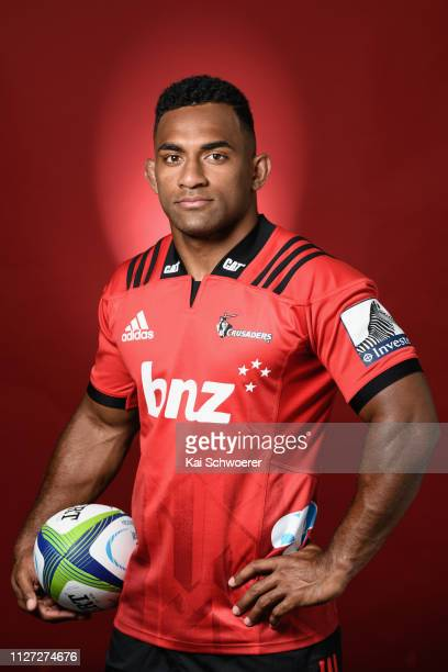 Sevu Reece poses during the Crusaders 2019 Super Rugby headshots session on February 01 2019 in Christchurch New Zealand