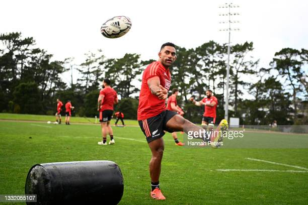 Sevu Reece runs through drills during a New Zealand All Blacks training session at Waitakere Stadium on August 03, 2021 in Auckland, New Zealand.