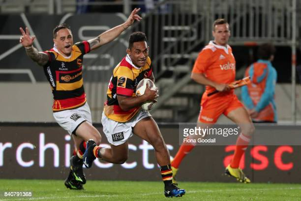 Sevu Reece scores a try supported by Zac Guildford of Waikato during the round three Mitre 10 Cup match between Auckland and Waikato at Eden Park on...