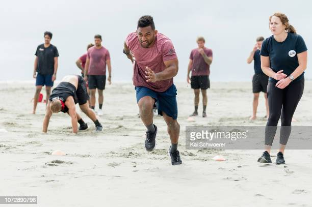 Sevu Reece takes part in a drill during a Crusaders training session on December 14 2018 in Christchurch New Zealand