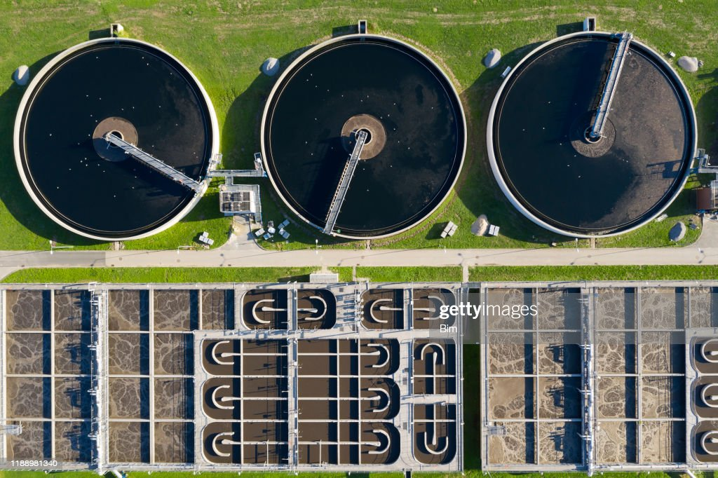 Sewage Treatment Plant, Aerial View : Stock Photo