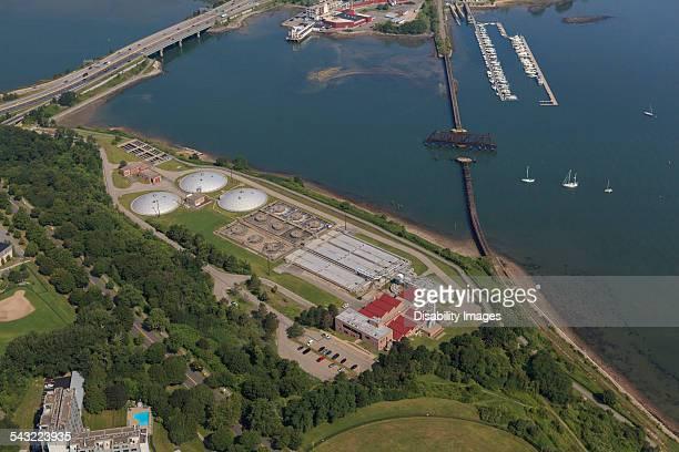 Sewage treatment plant at edge of bay