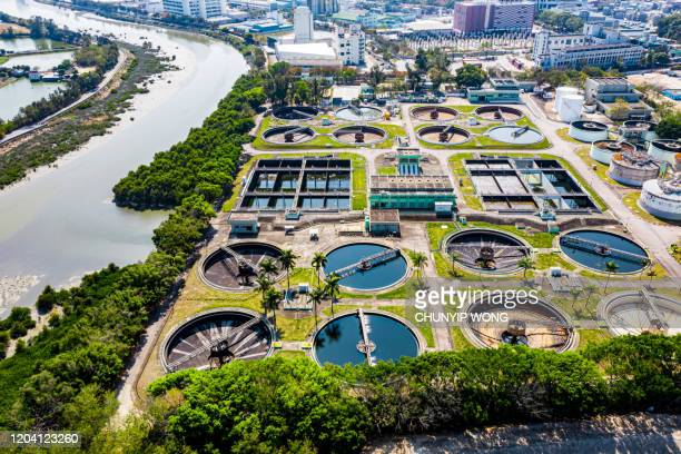 sewage treatment plant - high-angle view - sewer stock pictures, royalty-free photos & images