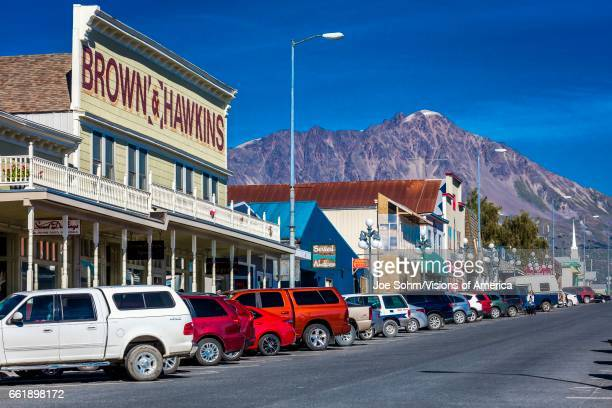 Seward Alaska storefronts and small businesses on nice sunny day in Alaska