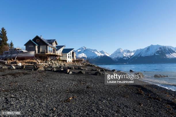 seward, alaska, the beach on lowell point road - golfo do alasca imagens e fotografias de stock