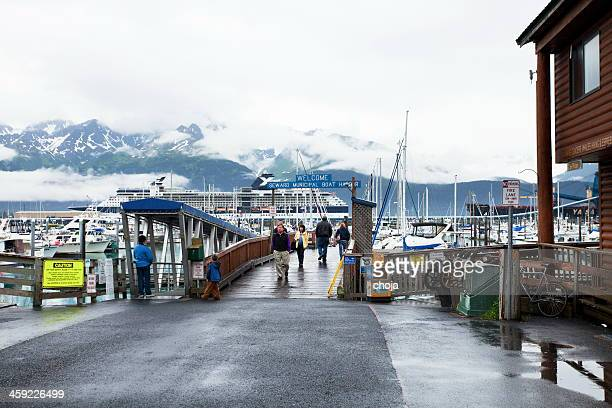 Seward muncipal boat harbor, Alaska,USA with big cruising ship