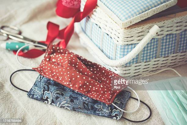 sewing accessories to sew a face mask - cloth mask stock pictures, royalty-free photos & images