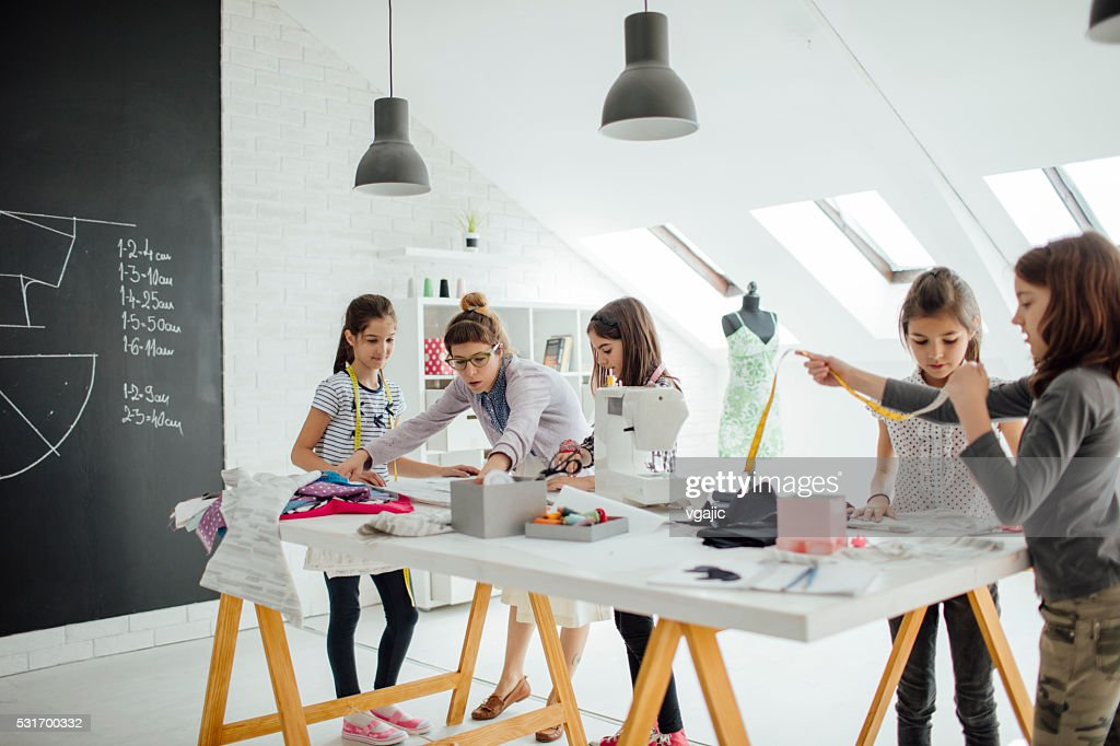 Sewing class for kids. : Stock Photo