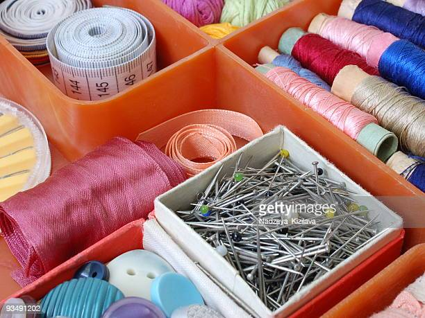 sewing kit - ribbon sewing item stock pictures, royalty-free photos & images