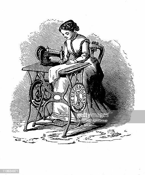 Sewing machine by Isaac Merritt Singer Treadle version From Genius Rewarded or the Story of the Sewing Machine New York 1880 Wood engraving