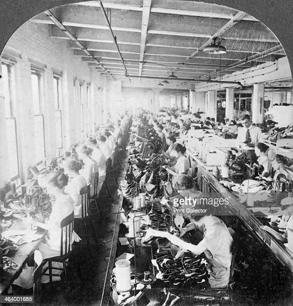 Sewing room in a large shoe factory Syracuse New York USA early 20th century Stereoscopic card Detail