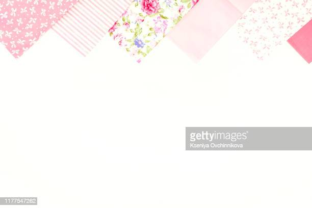 sewing set: fabrics and threads on wooden table - ribbon sewing item stock pictures, royalty-free photos & images