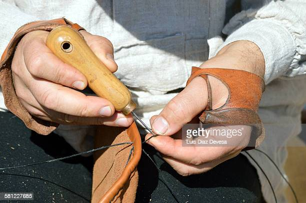 Sewing the bag of the Galician bagpipe
