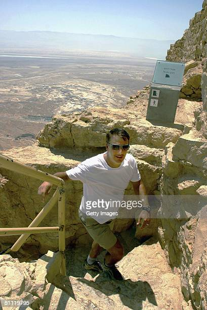 'Sex and the City' star actor Chris Noth climbs to the top July 25 2004 of the ancient desert fortress of Masada in southern Israel The American...