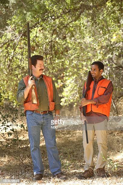 RECREATION 'Sex Education' Episode 504 Pictured Nick Offerman as Ron Swanson Aziz Ansari as Tom Haverford