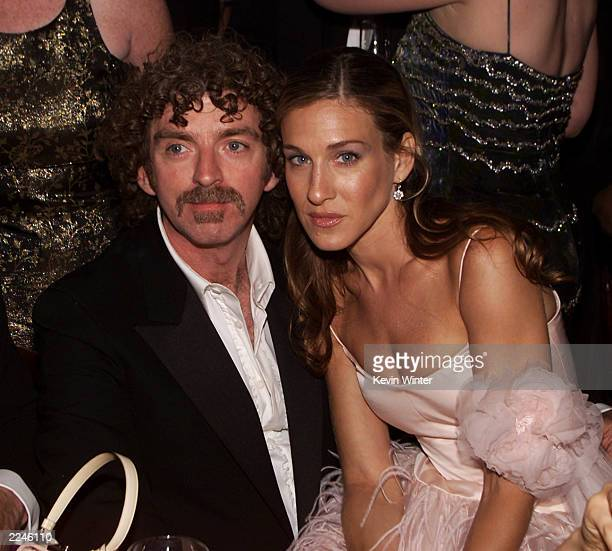 Sex in the City Executive producer Michael Patrick King and Sarah Jessica Parker at the HBO Emmy Party at Spago's in Los Angeles California after the...