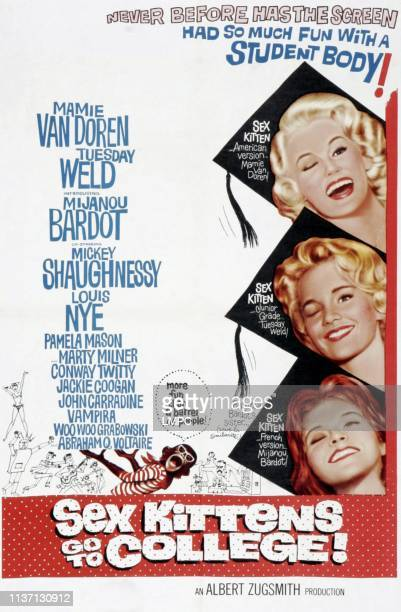 Sex Kittens Go To College poster right from top Mamie Van Doren Tuesday Weld Mijanou Bardot on poster art 1960