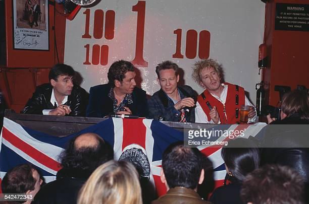 Sex Pistols Filthy Lucre Tour press conference 100 Club Oxford Street London United Kingdom March 1996 LR Glen Matlock Steve Jones Paul Cook Johnny...