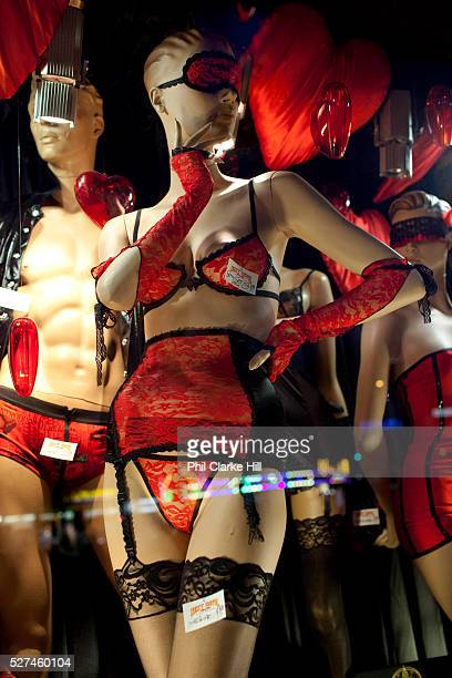 Sex shop window with red lingerie on Reeperbahn and St Pauli Hamburg Germany