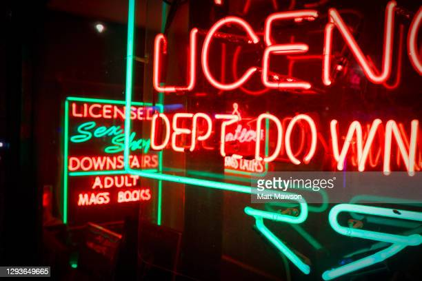sex shops in the soho district of central london - london stock pictures, royalty-free photos & images