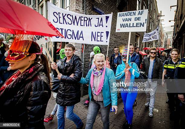 Sex workers and sympathizers demonstrate on April 9 2015 against the closure of window brothels by the municipality in the red light district in...