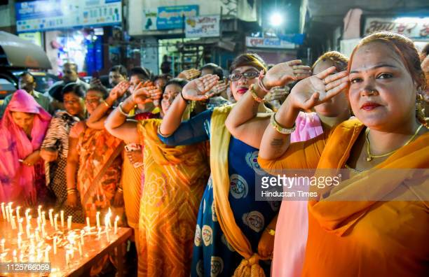 Sex workers from Budhwar Peth area pay their respects to martyrs of Pulwama attack on February 18 2019 in Pune India