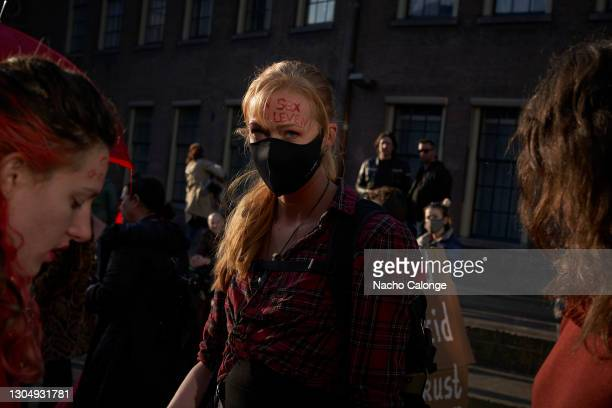 Sex workers from different parts of the country, who came to demand that the government let them work, joined the demonstration on March 2, 2021 in...