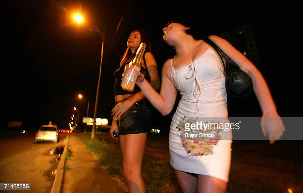 Sex workers on the ring road surrounding Kiev wait for roadside clients on August 12 2005 in Kiev Ukraine These girls are the cheapest and most at...