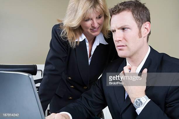 sexual harassment, female initiated. - ongewenste intimiteit stockfoto's en -beelden