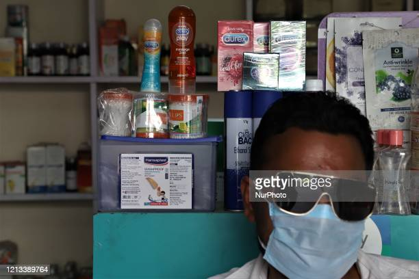 Sexual wellness products like Condoms and lubricants are seen at a Medical Store in Gurugram on the outskirts of New Delhi, India on 16 May 2020
