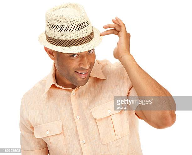 sexy african american man showing off wearing a summer hat - clothes on clothes off photos stock pictures, royalty-free photos & images