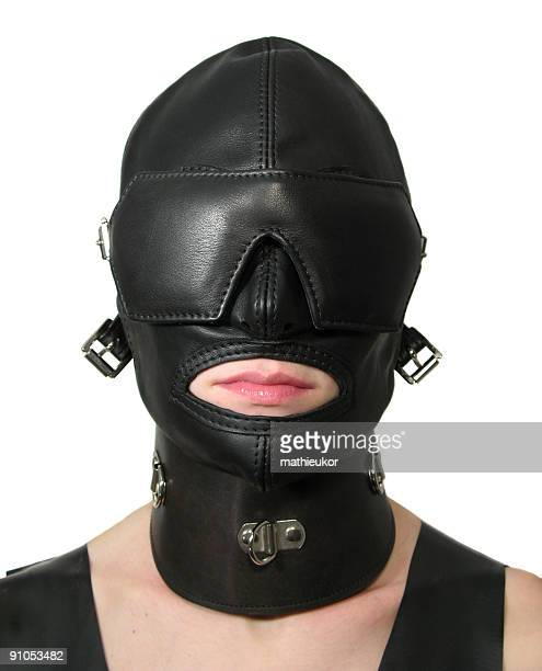 sexy, black leather domination mask - fetish wear stock photos and pictures