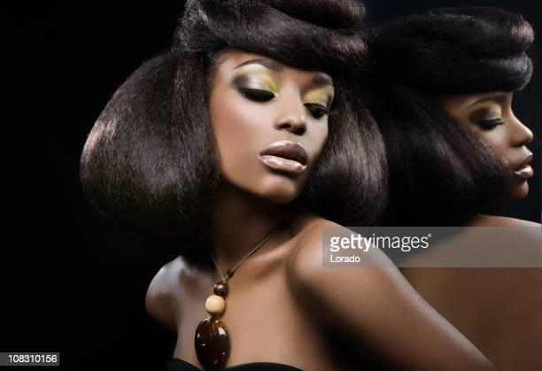 sexy black woman against mirror