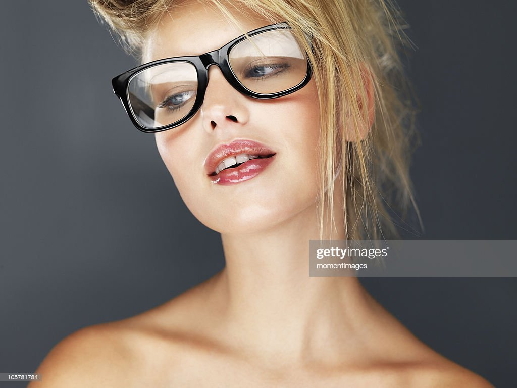 Sexy blond wearing glasses