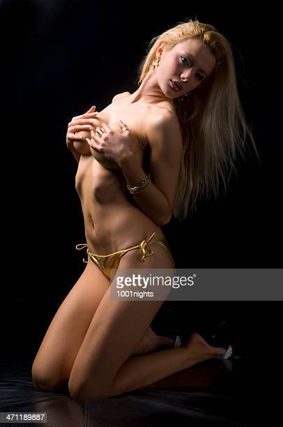 sexy blondie topless - topless bikini models stock pictures, royalty-free photos & images